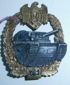 """Army/Waffen SS Special Grade '75"""" Engagements Bronze Panzer Assault Badge. (Panzerkampfabzeichen in Bronze mit der Einsatzzahl)."""