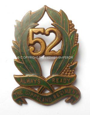 AUSTRALIA. 52nd THE GIPPSLAND REGIMENT 1930-42 (Enamel).