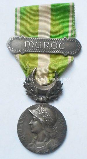"""FRANCE. MOROCCO COMMEMORATIVE MEDAL 1909 """"Médaille commémorative du Maroc (1909)"""" 1 clasp """"MAROC""""."""