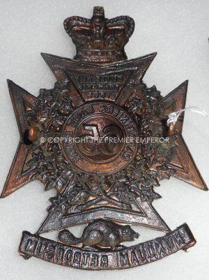 """CANADIAN MILITIA. 65th REGT. CARABINIERS """"MONT ROYAL' HELMET PLATE Circa. 1885."""