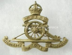 BRITISH.3rd MIDDLESEX ROYAL GARRISON ARTILLERY VOLUNTEERS CAP BADGE.