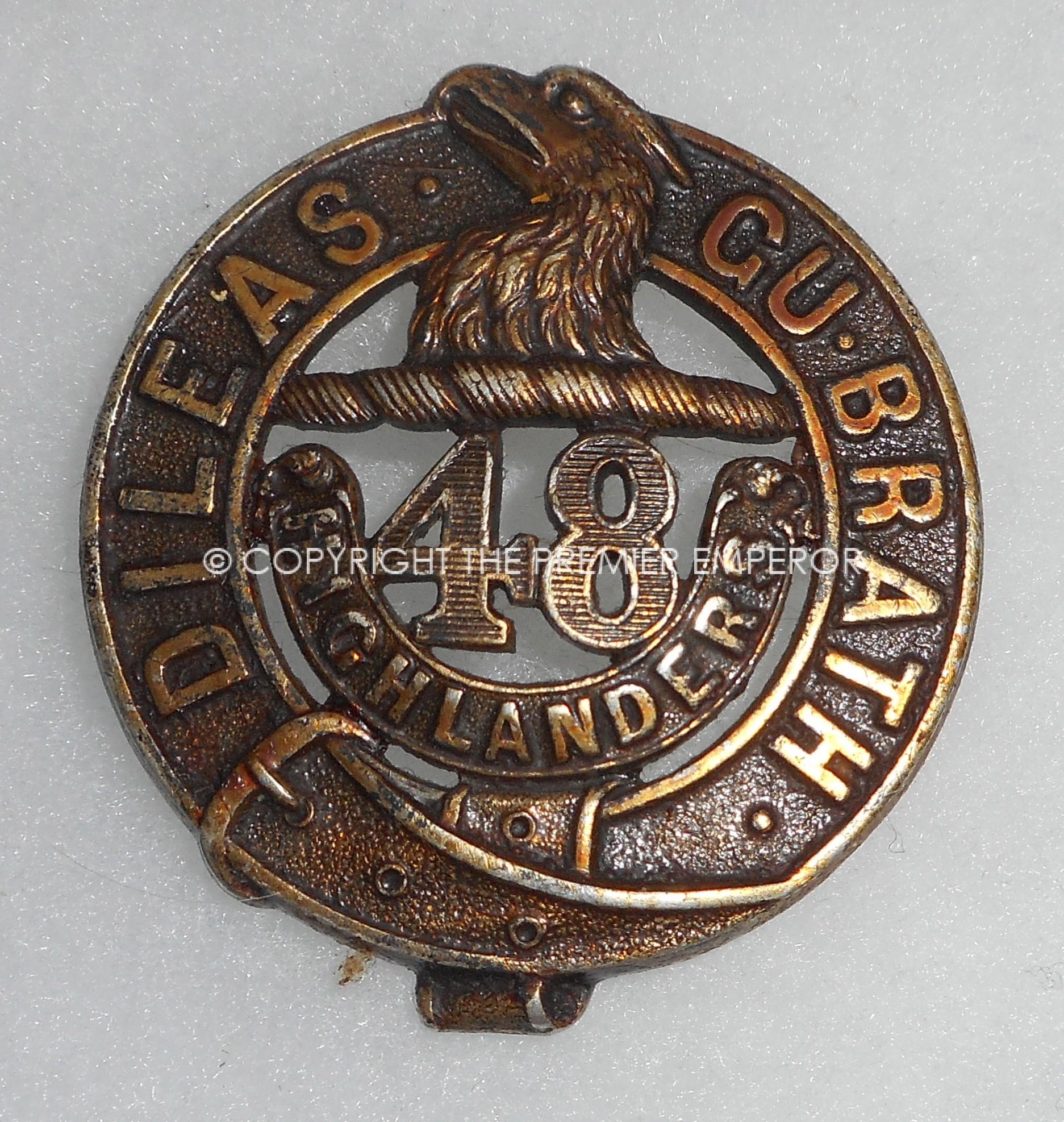 CANADA  1914/18 48th HIGHLANDERS HALLMARKED SILVER CAP BADGE
