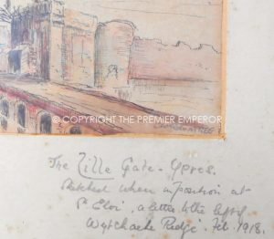 BRITISH GREAT WAR 1914/18 ORIGINAL WATERCOLOUR & PEN & INK OF LILLE GATE YPRES.
