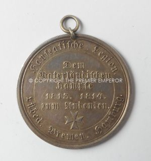 GERMAN FIRST EMPIRE HANSEATIC LEGION 1813-1814 WAR MEDAL.(NO RIBBON).