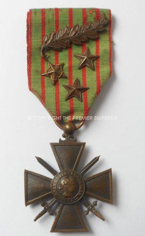FRANCE CROIX DE GUERRE 1914-1916,1 Palm & 3 BRONZE STARS.
