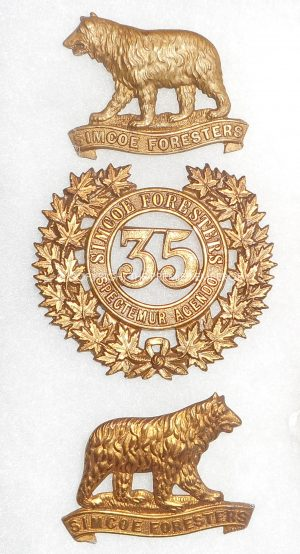 CANADIAN MILITIA.35th REGIMENT SIMCOE FORESTERS, CAP & COLLAR BADGES. Circa.1912