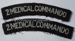 BRITISH No.2 MEDICAL COMMANDO PAIR OF SHOULDER TITLES.