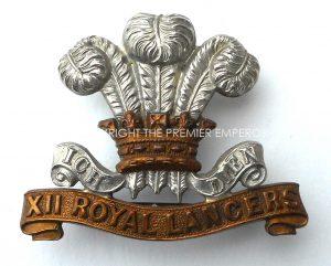 BRITISH (PRINCE OF WALES OWN) X11 ROYAL LANCERS.VICTORIAN CAP BADGE.
