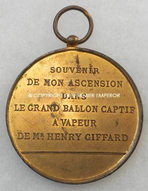 A French Henry Giffard Balloon ascent Medallion.Paris. Circa.1878