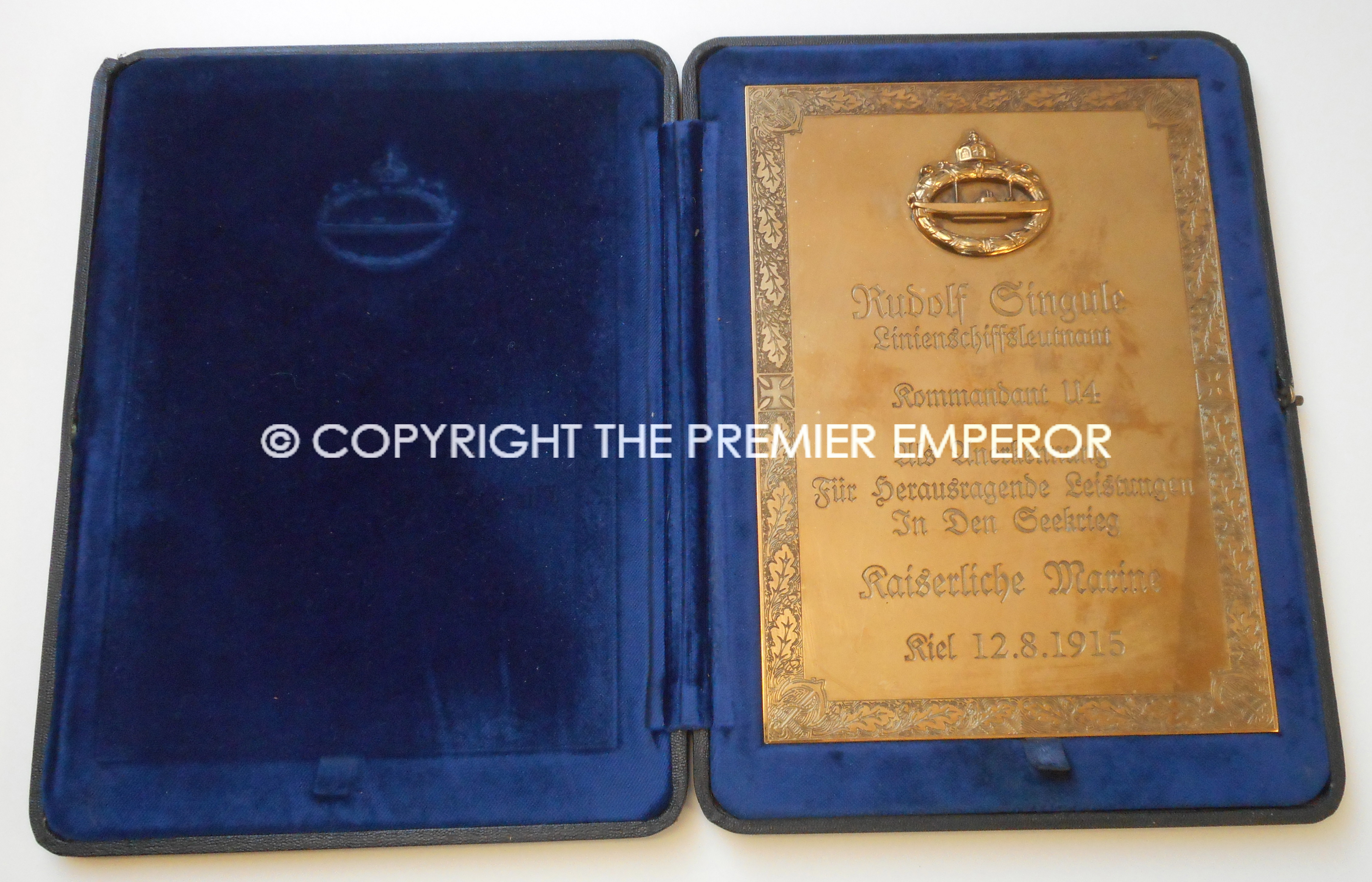 Imperial German Submarine Officers Presentation plaque.Circa.1915