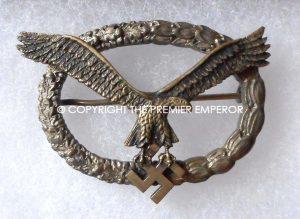 AN EXTREMELY RARE. German Luftwaffe 1st Type Pilot & Pilot Observers badge.Circa.1934-35 Gemeinsames Flugzeugfuhrer-und Beobachterabzeichen.