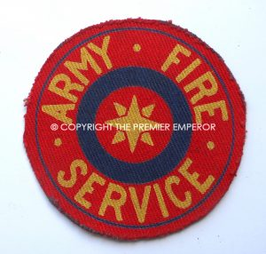 British Army Fire Service badge.(Printed large size). Circa.,1944 Onwards.