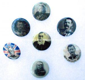 British Boer War small collection of Seven Celluloid & tin button badges.Circa.1896-1900