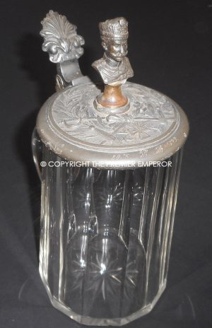 Imperial German Military glass Stein. Circa.1899-1914 (Kaiser bust to top)