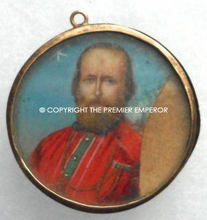 Italy.Miniature of Garibaldi on ivory contained in ornate locket.Circa.1860