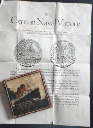 British Lusitania medallion in box of issue with Original paperwork.Circa.1915
