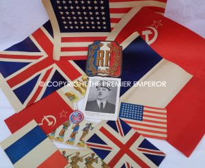 Excellent World War Two French Liberation Paper bunting & badges. Circa.1944-45