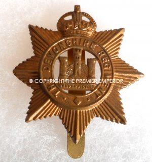 British 1914/1918 The Devonshire Regiment All brass Economy cap badge.Circa.1916
