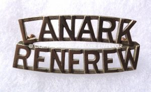 Canada. Lanark & Renfrew Scottish Regiment brass shoulder title.Circa.1927-1939