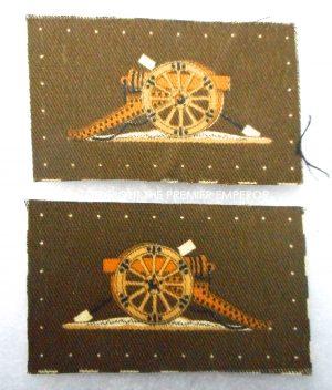 British Army Pair of printed Artillery Master Gunner and all Senior NCO's trade badges.
