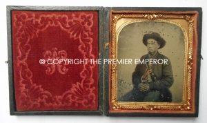 American Civil War Tin Type photograph of Confederate Soldier complete in its original case.Circa.1864/65