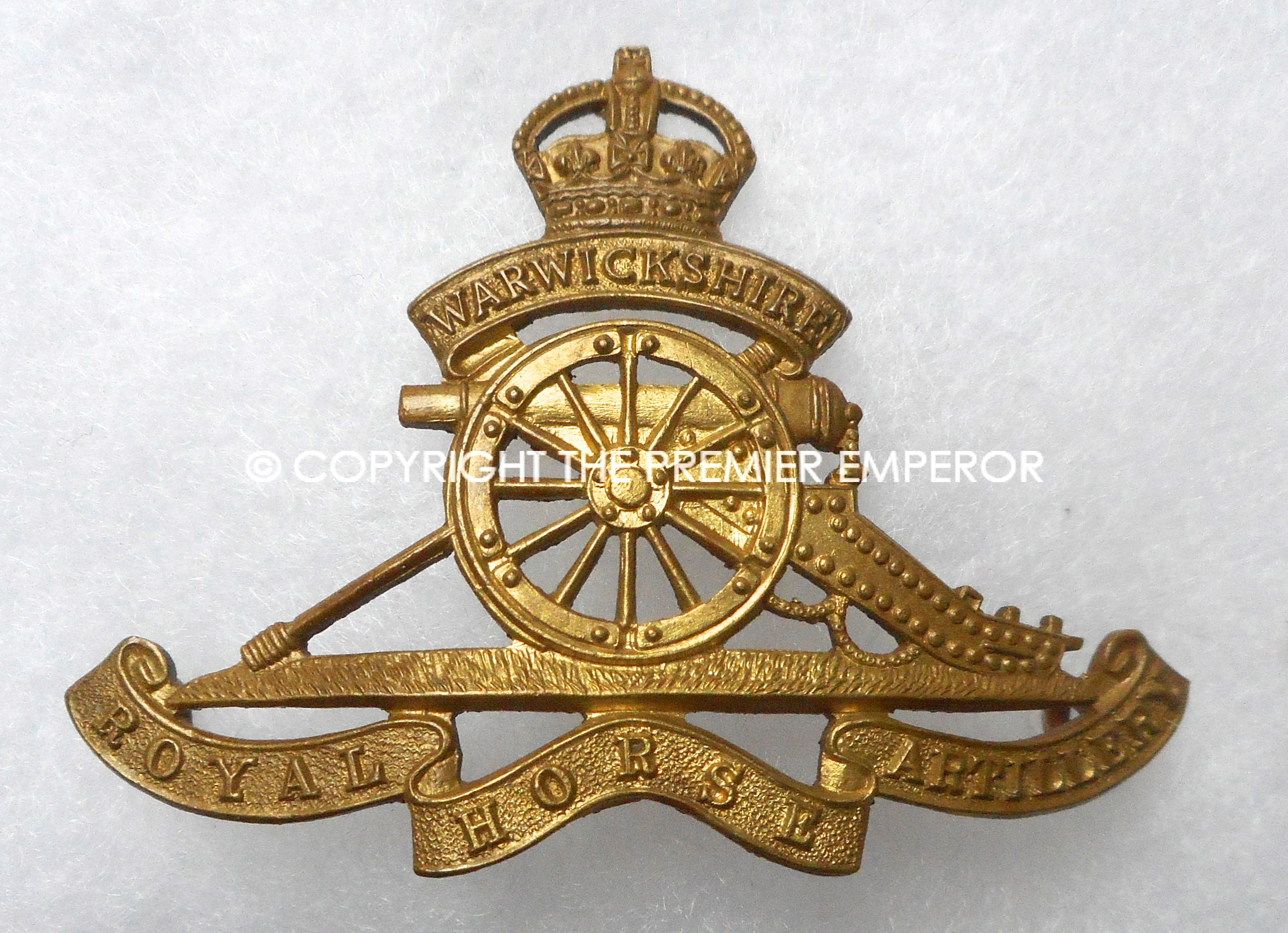 British Warwickshire Royal Horse Artillery Cap Badge Relic Militaria Military Antiques And Memorabilia