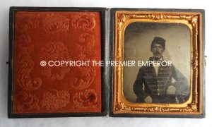 American Civil War Larger size Tin Type photograph of a Union Soldier complete in its original case.Circa.1864/65