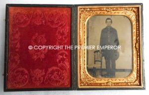 American Civil War Extra Large size Tin Type photograph of a Union Soldier complete in its original case.Circa.1864/65