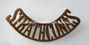 Canada. Strathcona's Horse Royal Canadians brass shoulder title.Circa.1909-1920