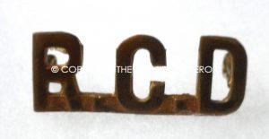 Canada. C.E.F. Royal Canadian Dragoons brass shoulder title.Circa.1890-1914