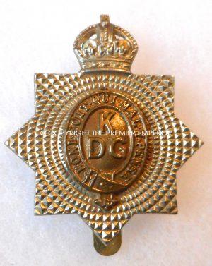 British 1st King's Dragoon Guards cap badge. Circa.1916/1918