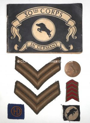 British World War Two 30th Corps small collection from a Mr A.Holt.R.E.M.E..Circa.1944-46