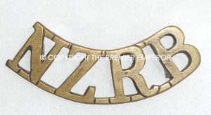 New Zealand Rifle Brigade brass shoulder title.Circa.1914/1918