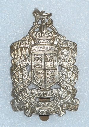 British King Edward's Horse(The Dominions Regiment)Special Reserve Cavalry cap badge.2nd type. (Incorrect Spelling of Motto)Circa.1908-1922