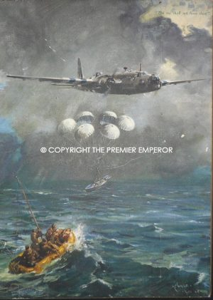 """British Wartime R.A.F. Oiliograph """"The sea shall not have them"""" Circa.1944 by T.Cuneo"""