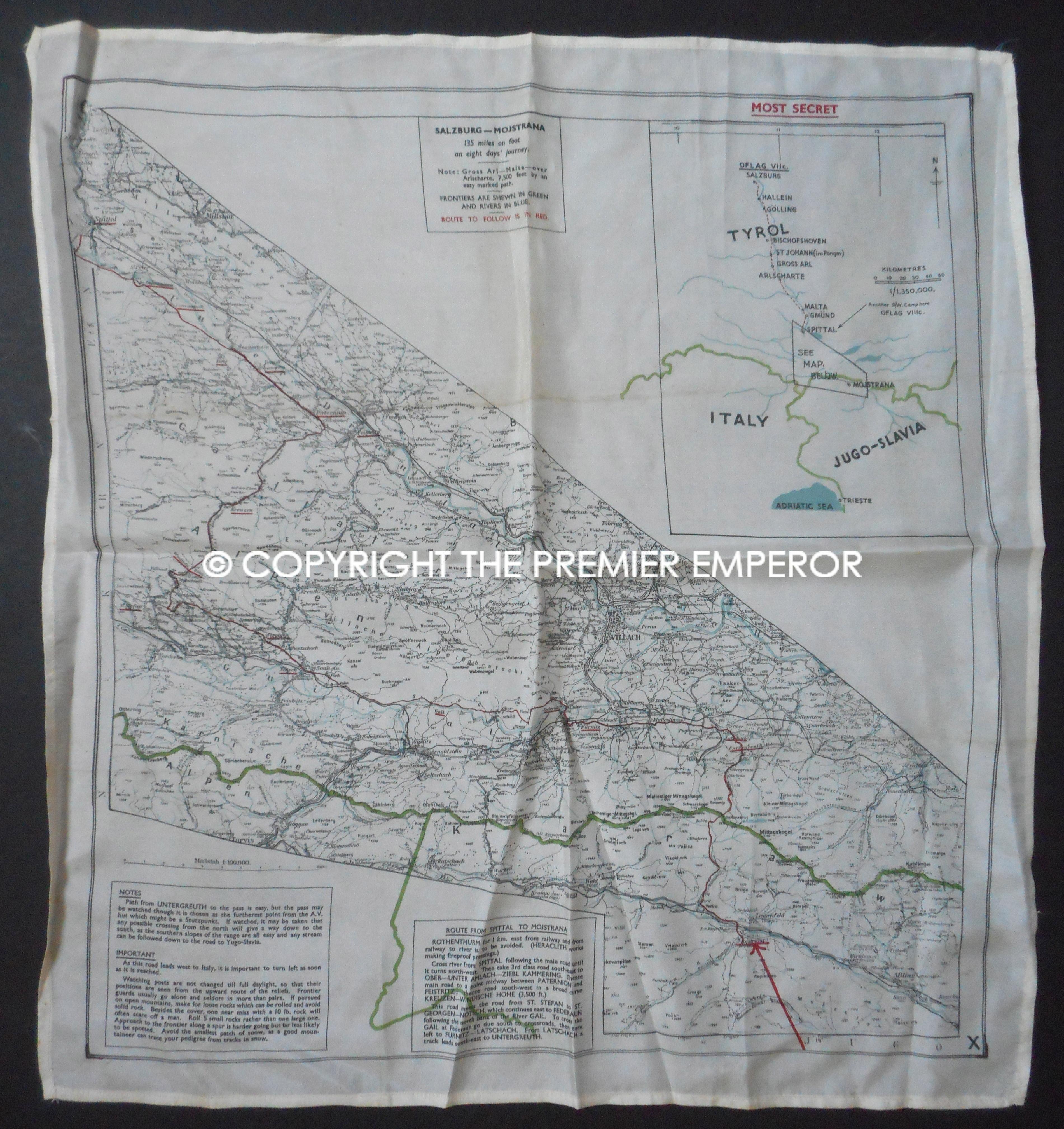 Tirol Italy Map.British Raf S O E Escape Evasion Silk Map For Italy Tirol Jugo