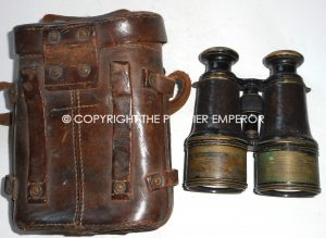 British Army Officers 1917 French made Binoculars in leather carrying case.. Great War 1914/1918 .