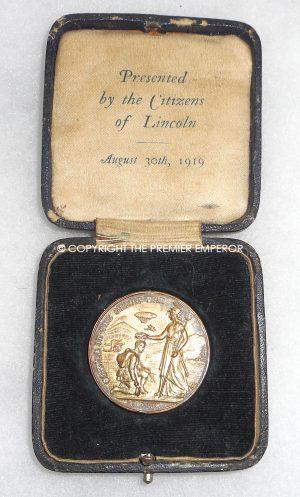 British City of Lincoln presentation medallion in case of issue. Circa.1918/19