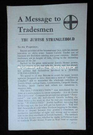 British.Rare: The Imperial Fascist League propaganda leaflet Circa.1930's