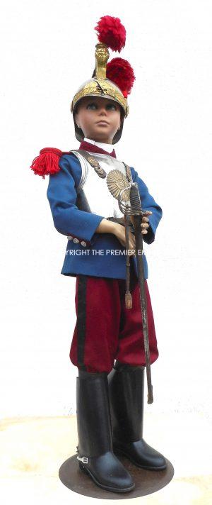 France. Childs Cuirassier full uniform, helmet & sword on 1920's Mannequin.