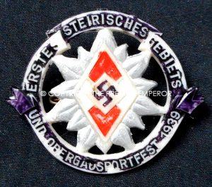 German Tinnie/Day badge. Hitler Youth Erste Steirisches Gebiets und Obergausportffest 1939 (Plastic/painted type)