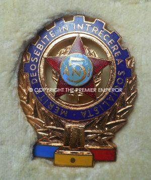 Rumania. Cased Communist 5-years Anniversary Workers Merit award badge.Circa.1960-70's