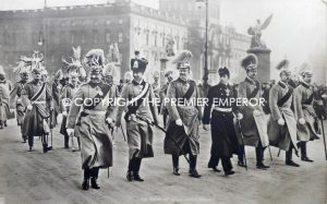 German. Original photograph of Kaiser Wilhelm II.on Parade with his six sons. Circa.1890's