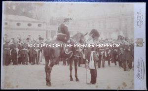 German. Original photograph of Kaiser Wilhelm II. reviewing his troops. (Potsdam)Circa.1894