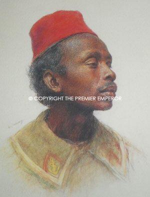France. Superb coloured print of Tirailleur Malgache (Sakhalave) by Eugene Burnand. Circa.1920