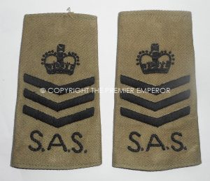 British: Pair of S.A.S.(Special Air Service) Sergeants slip on shoulder straps.QEII crown.Circa.1970's/80's