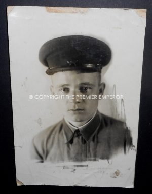 Russia. World War Two original large photograph of a Red Army soldier in visor cap. Circa.1941-43