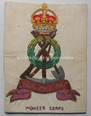 """British: Great War 1914/1918 Embroidered """"Pioneer Corps"""" insignia.Circa.1914/18"""