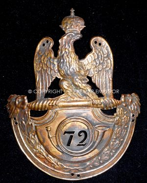 France. First Empire Modele:1812- 72nd Chasseurs Infanterie de Ligne shako plate.