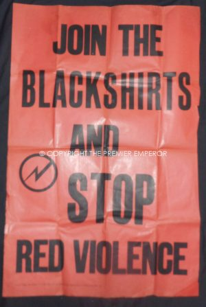 "A Rare British Union of Fascists (BUF) poster.""Join the Blackshirts and Stop Red Violence"""" Circa.1930's"
